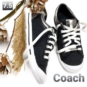 Coach Black Silver Lace Up Sneaker Loafers 7.5